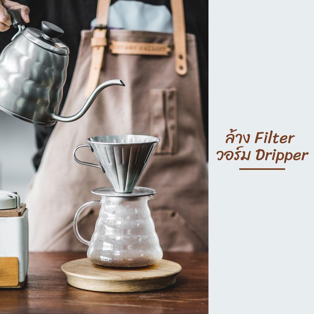 ดริปกาแฟกินเอง ขั้นที่ 4. ล้าง Filter วอร์ม Dripper
