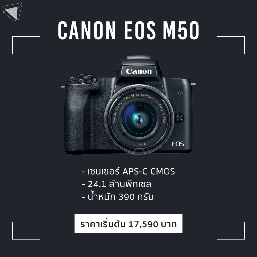 Canon EOS M50 mirrorless พกสะดวก