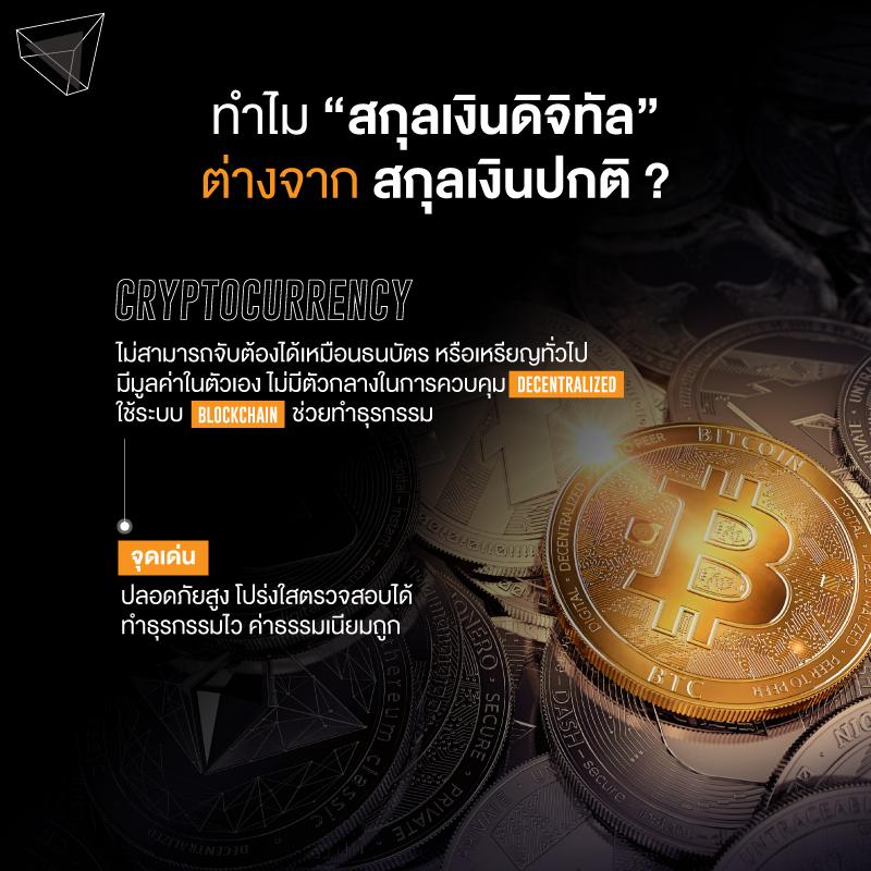Cryptocurrency ต่างจากสกุลเงินปกติทั่วไปยังไง