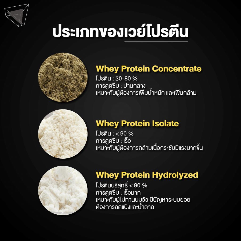 ประเภทของเวย์โปรตีน