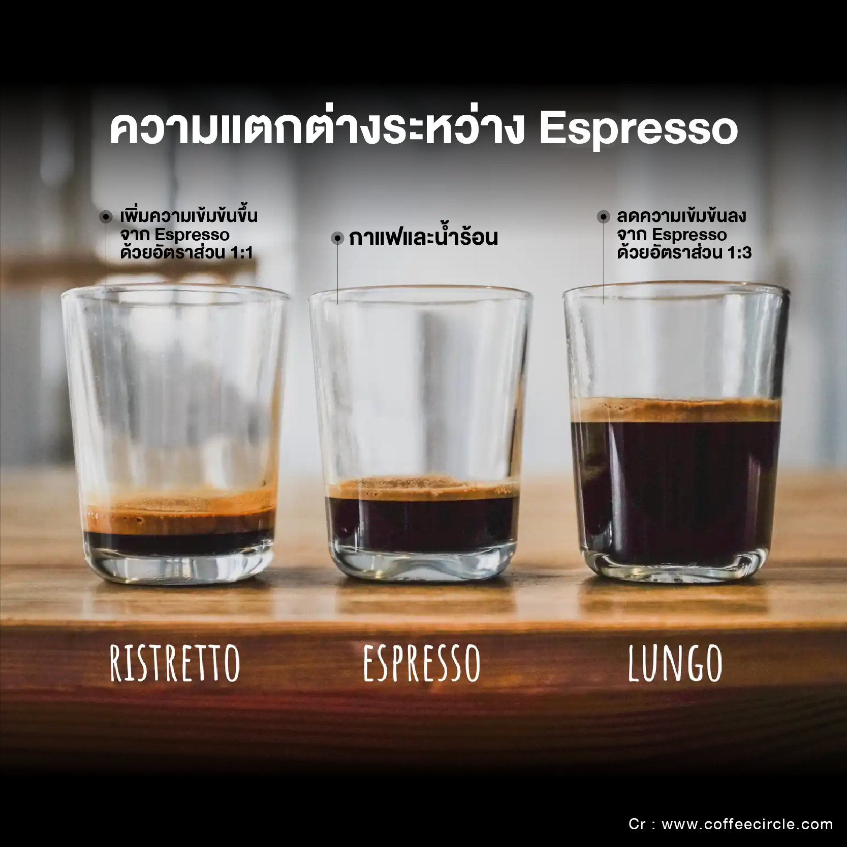 ความแตกต่างของ Espresso & Ristretto & Lungo